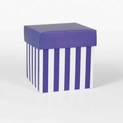 Scatolina fondo e coperchio blu e crema 10x10x10