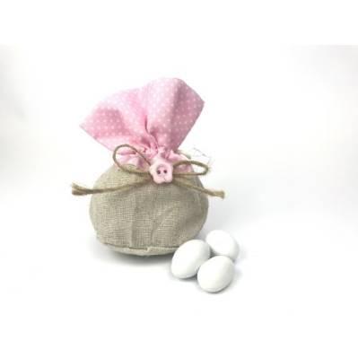 Sacchetto tela bicolor rosa