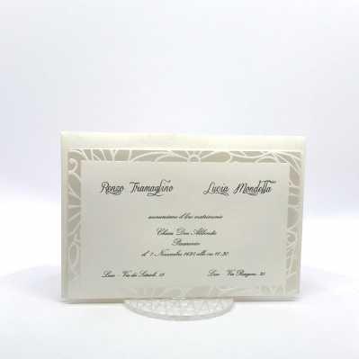 Partecipazione matrimonio con cornice stampata a caldo perla