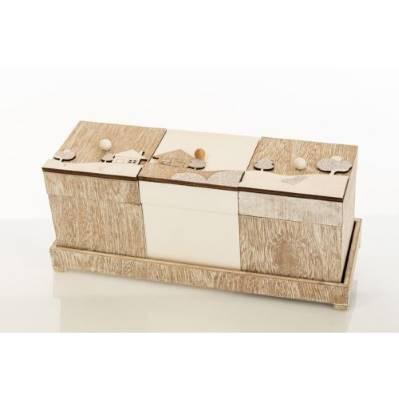 Set 3 scatole legno - BOMBONIERE SOLIDALI
