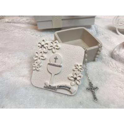 Scatolina portaconfetti con rosario