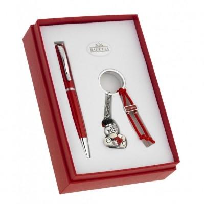 confezione LAUREA penna e portachiavi ORSETTO in resina argentata