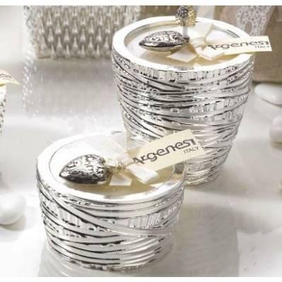 Porta candela INFINITY in resina e argento - Bomboniera Argenesi