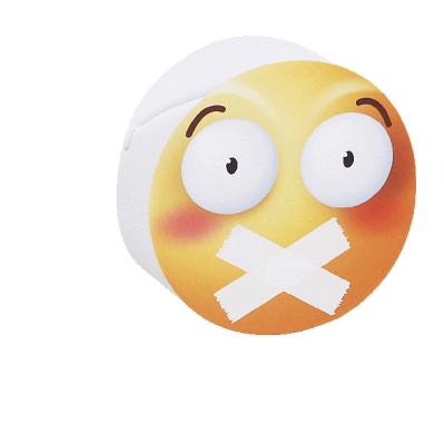 Scatolina portaconfetti cilindrica emoji bocca incerottata