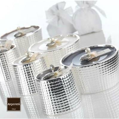 Porta candela QUADRI in resina e argento - Argenesi