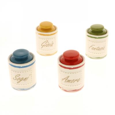 Barattoli ermetici in porcellana con coperchio pomello vari colori