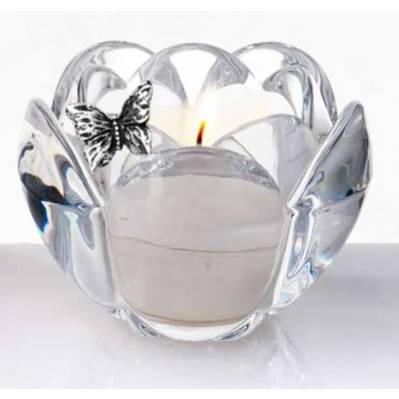 Portacandela fiore in cristallo con farfalla bomboniera matrimonio - Me