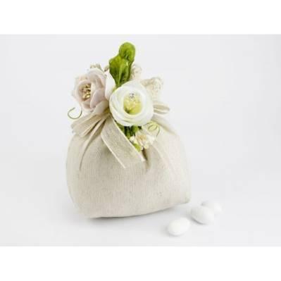 Sacchettino portaconfetti tortora pizzo con applicazione fiori - matrimonio / prima comunione