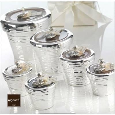Porta candela SEGNO in resina e argento - Argenesi