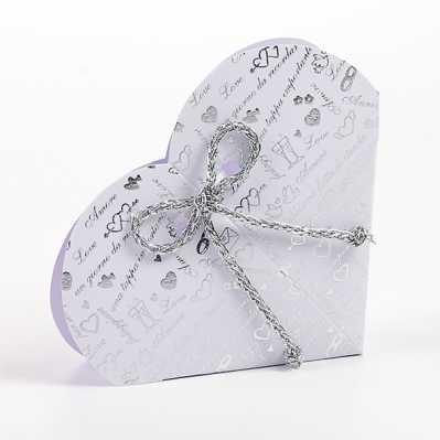 Scatolina cuore portaconfetti nozze d'argento