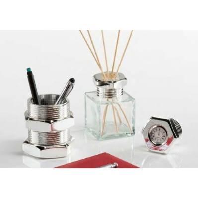 Bottiglia bullone profumatore BOLT da scrivania in argento - Argenesi