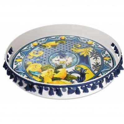Vassoio tondo da collezione sicilia blu Baroque&Rock - Baci Milano