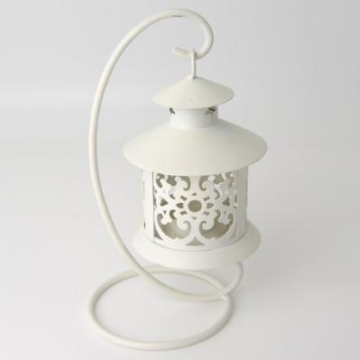 Lanterna in metallo bianca con base