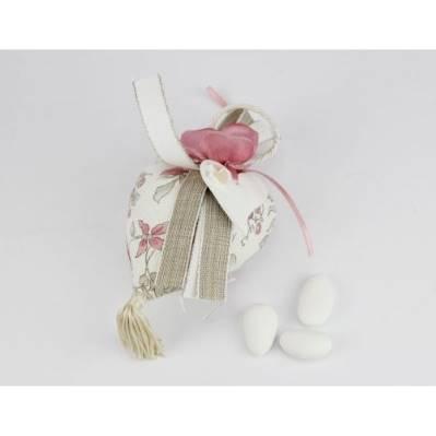 Sacchettino cuore portaconfetti con fiore e cuore Bomboniera Nozze linea FIOR DI LOTO - Joel