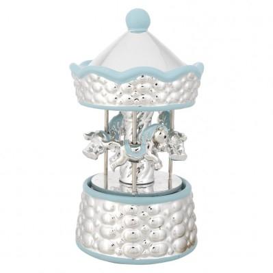Carillon girevole in ceramica rivestita in argento e smalto con CAVALLI A DONDOLO azzurro