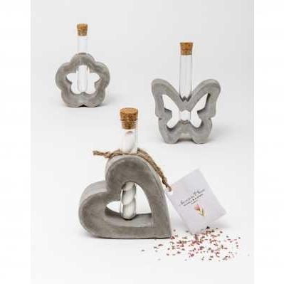 Vasetto in cemento con ampollina 3 modelli assortiti