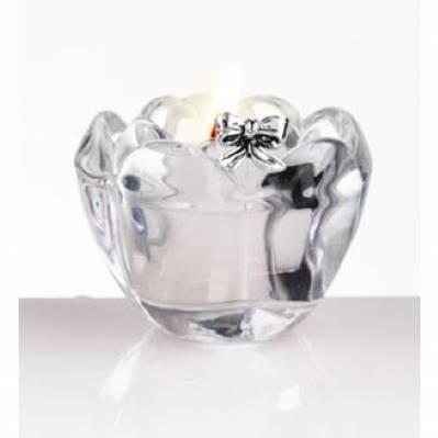 Portacandela fiore in cristallo con fiocco bomboniera matrimonio - Me