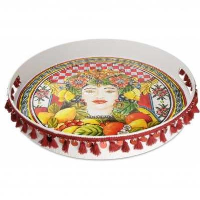 Vassoio tondo da collezione sicilia rossa Baroque&Rock - Baci Milano