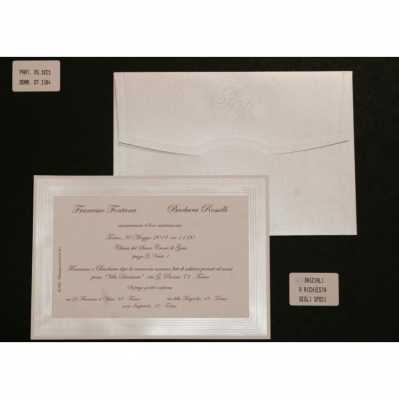 Partecipazione cartoncino bianco con bordo setificato a rilievo