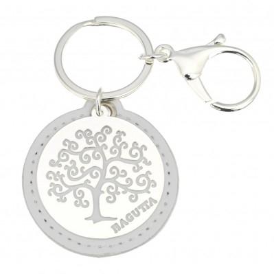 Portachiavi albero della vita stilizzato bianco in pelle e metallo argentato