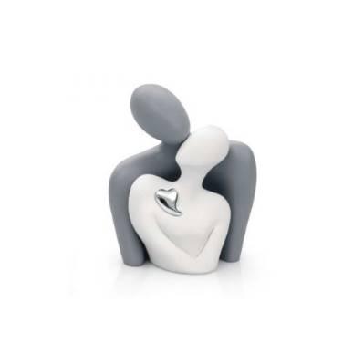 Scultura coppia innamorati con cuore in argento - Bongelli