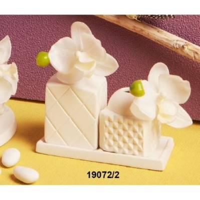 Set 2 Diffusori di fragranze in porcellana con orchidea