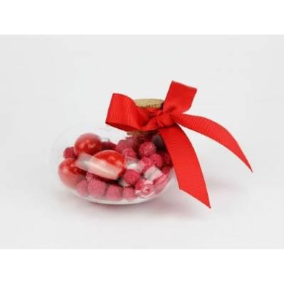 Contenitore in vetro a forma di cuore Portaconfetti Confezionato Rosso