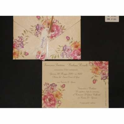 Partecipazione cartoncino floreale avorio