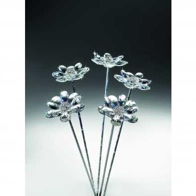 Fiori margherita stelo confezione 1 pezzo bianchi in cristallo - RANOLDI
