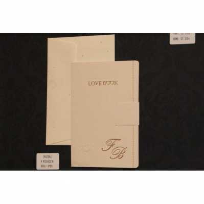 Partecipazione cartoncino avorio stampa in oro con interno carta bianca e chiusura ad incastro