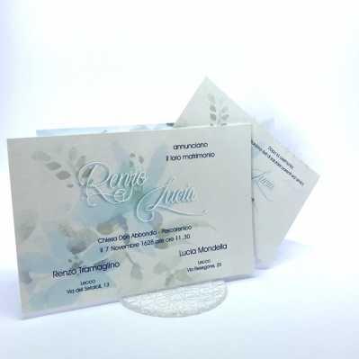 Partecipazione di nozze rettangolare in carta perlata bianca