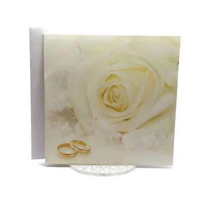Partecipazione Matrimonio su carta lucida quadrata con rosa e fedi