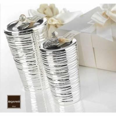 Bomboniera porta candela SEGNO CONICO ALTO in resina e argento - Argenesi