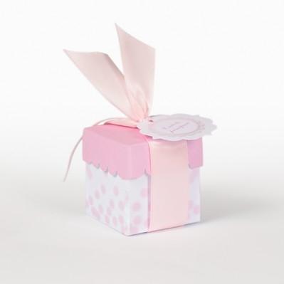 Scatolina quadrata fondo vassoio coperchio rosa completa di bollini prefustellati