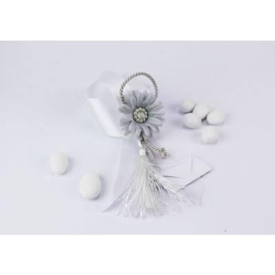 Legatovagliolo in seta con fiore