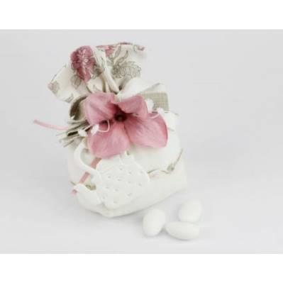Sacchetto portaconfetti con fiore e bollitore / teiera Bomboniera Nozze linea FIOR DI LOTO - Joel