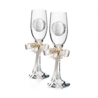 Coppia Bicchieri Flutes linea Albero della Vita Matrimonio - Atelier