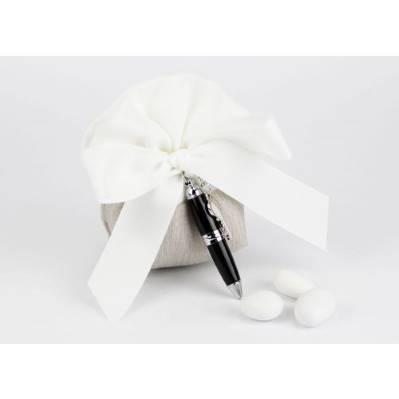 Saccoccini portaconfetti con penna - bomboniera matrimonio / laurea Margot Italia