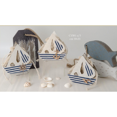 Sacchetto porta confetti barca tema mare