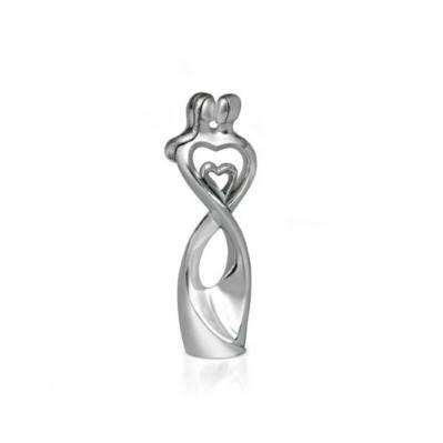 Scultura cuore coppia innamorati in argento - Bongelli