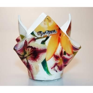 Portapenne in vetro con decorazione floreale - 12cm - Gai Mattiolo
