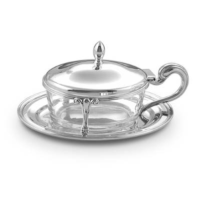 Formaggera ovale inglese in argento e cristallo