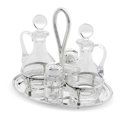 Menage ovale in argento e cristallo