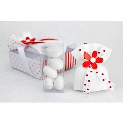 Scatola con saccoccino profumambiente e scatolina in pvc con confetti con fiocco rosso e gufetto arg