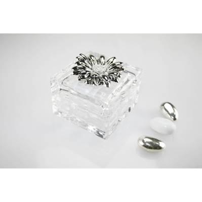 Cofanetto quadrato in cristallo con margherita in argento