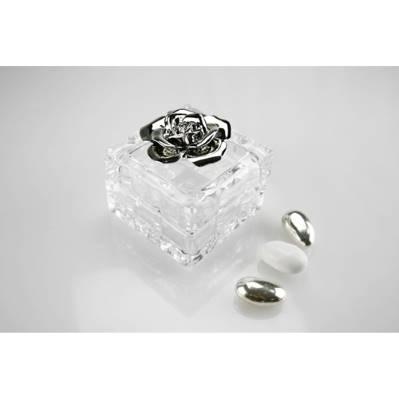 Cofanetto quadrato in cristallo con rosa in argento