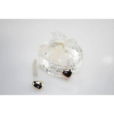 Scatolina in cristallo con ciondoli a cuore