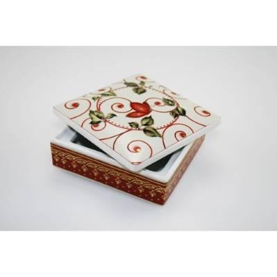 Scatola quadrata in porcellana con decori