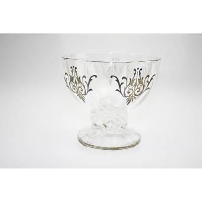 Coppetta in vetro con decori argento