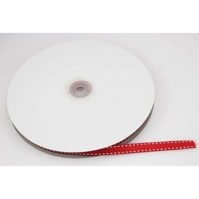 Nastro in rigatino rosso con impunture bianche